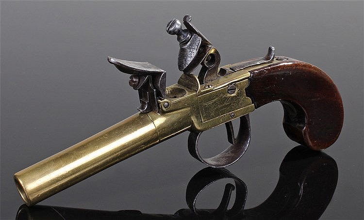 18th Century flintlock pistol, signed but rubbed makers name, London, the b