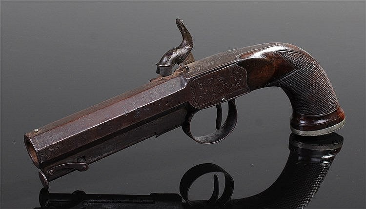 Mid 19th Century percussion pistol, D Gass London, the steel hammer and sig
