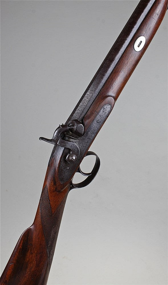 19th Century sporting gun, by French, the percussion gun with mahogany grip