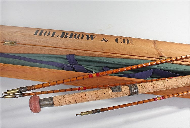 Holbrow & Co four piece spilt cane rod, cased within a Holbrow box