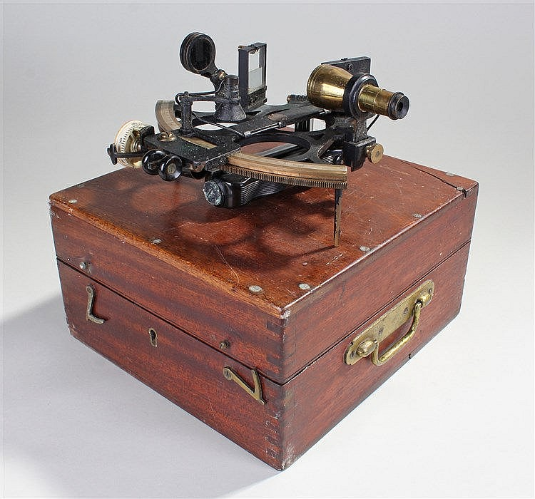 Kelvin Hughes sextant, fitted within the original case, the sextant with a