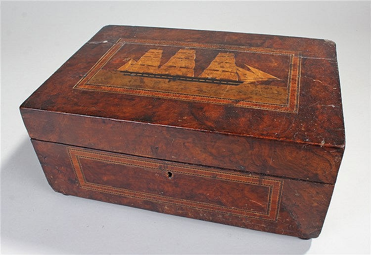 Victorian walnut and inlaid sewing box, inlaid with a ship to the lid, cheq