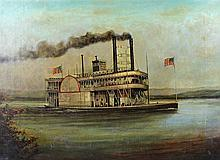 Early 20th Century America school, A Mississippi paddle steamer, oil on can