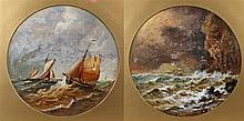 Pair of seascapes, depicting a ship in the distance near a rocky cliff, the