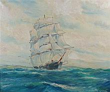 Deirdre Henty-Creer (1918-2012) three masted ship at sea, signed bottom rig