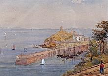 19th Century watercolour of Tenby Harbour, the harbour with ships docked an