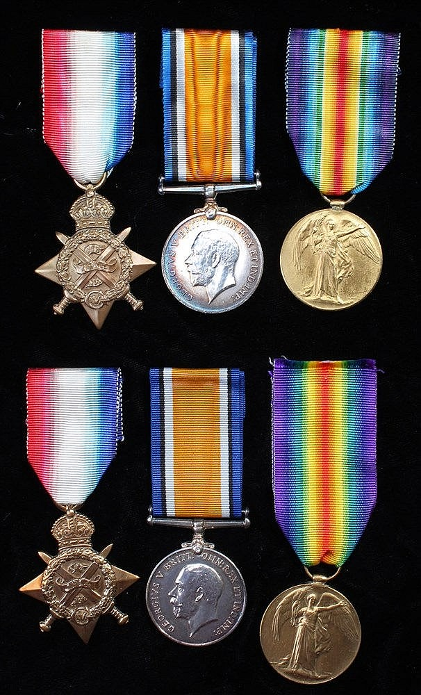 First World War Mons trio, family group, 1914 Star, British War Medal and V