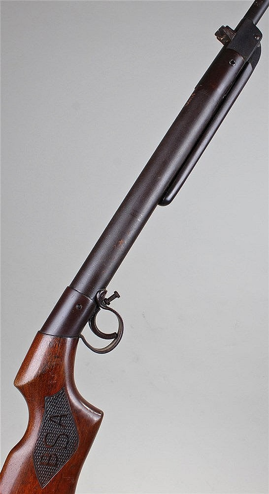 BSA air rifle, the mahogany stock with carved BSA logo to each side, steel