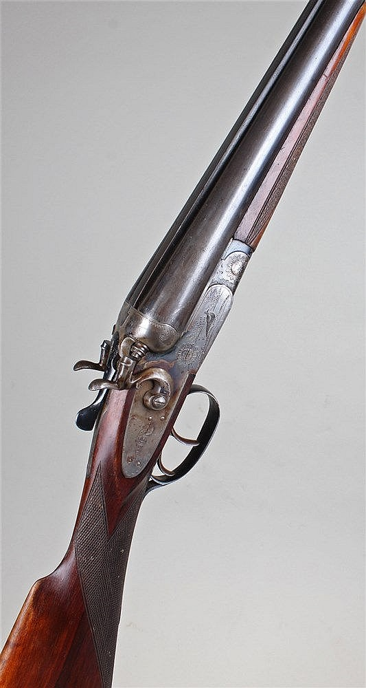 Italian 12 bore percussion double barrel sporting gun, the walnut stock wit