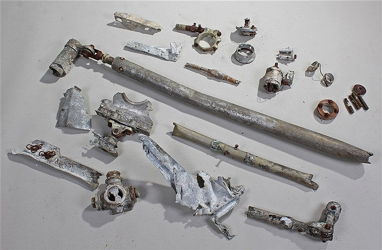 Relics of a Dornier D017 twin engine Bomber, to include the column shaft, f