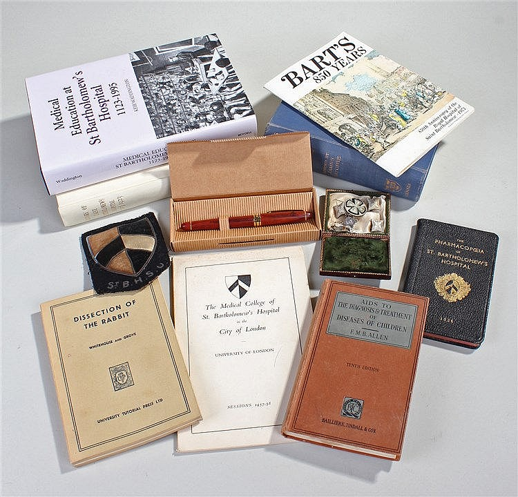 Collection of St Bartholomew's books and ephemera, to include 1936 Pharmaco