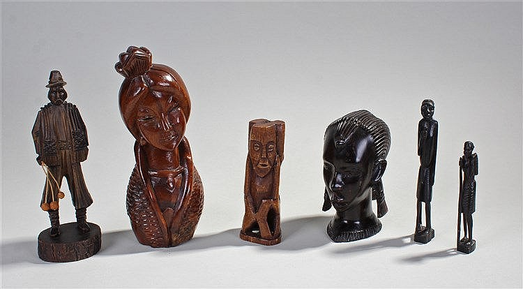 African carved bone figure, carved as three figures, together with two carv