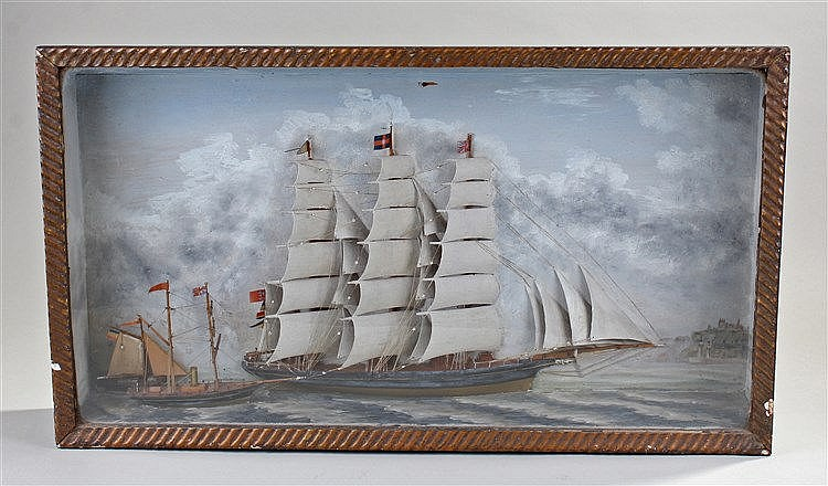19th Century diorama, with a three masted ship to the centre two further sh