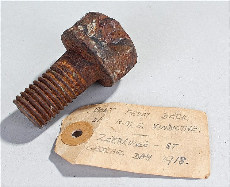 Zeebrugge Raid interest, a bolt from the Deck of H.M.S. Vindictive, togethe