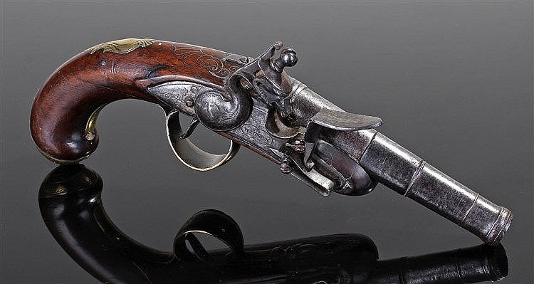 Fine 18th Century flintlock pistol, the lock plate singed WIGGIN, with a ca