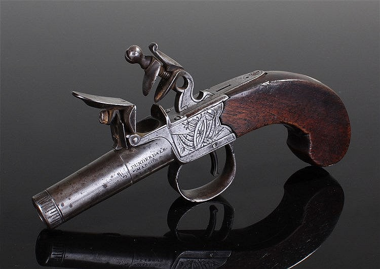 18th Century flintlock pistol, maker Dunderdale Mabson & Labron, the walnut