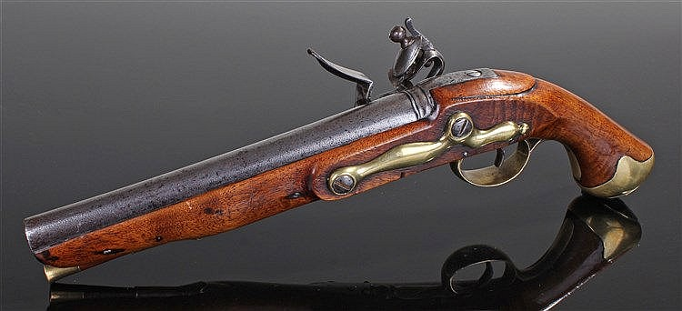 George III Light Dragoon Tower Pattern flintlock pistol, the walnut stock w