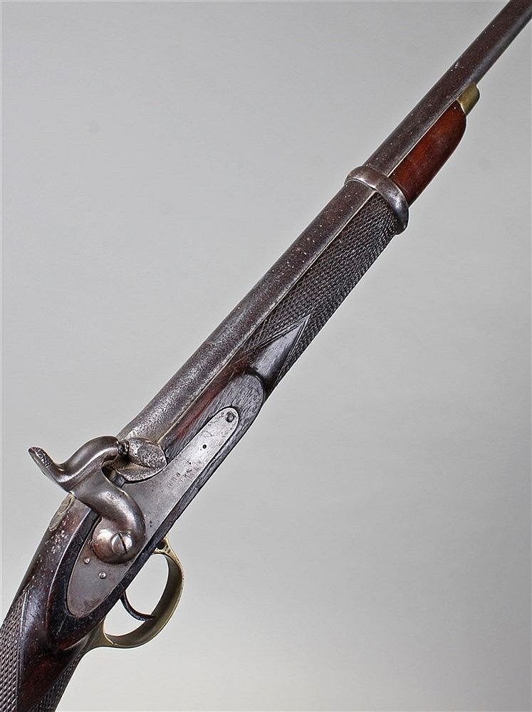 Victorian percussion rifle, the single hammer with VR and Tower mark, dated