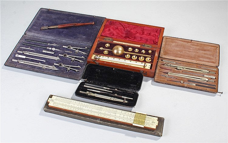 Sikes Hydrometer, together with a slide rule and drawing sets, (qty)