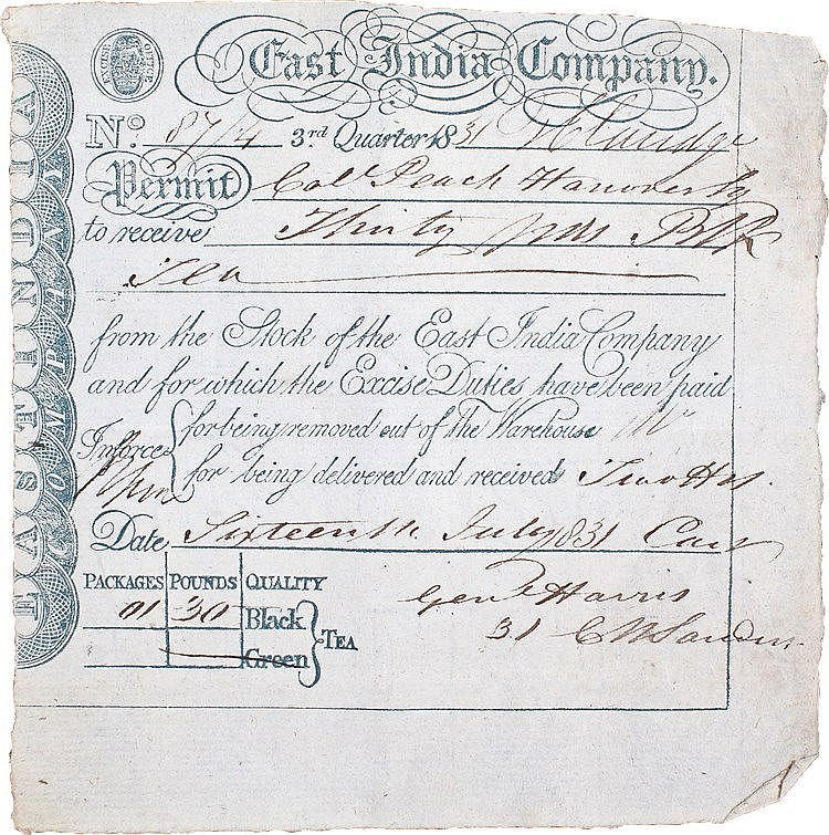 East India Company interest, a permit to take 30 pounds of Black tea from t