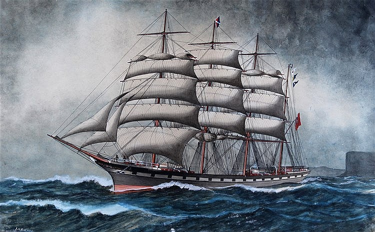 J.W. Holmes, water colour of the Ship Gowanbank, titled to the mount
