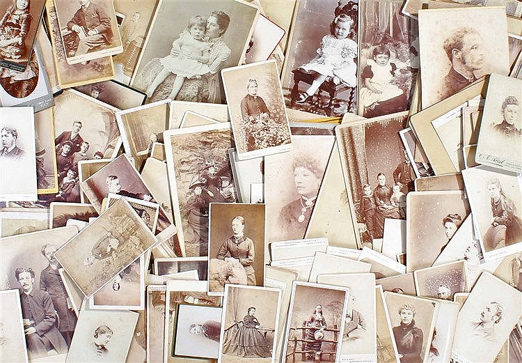 Collection of CDV and cabinet card photographs, to include children, famili