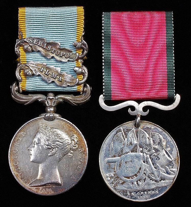 Crimea pair, 1854-56, unnamed as issued, Crimea medal with bars Sebastopol