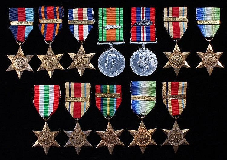 Second World War medals, to include three Africa medals, an Atlantic Star,