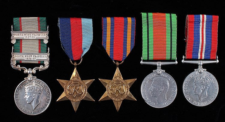 India General Service and Second World War group of five, the India General