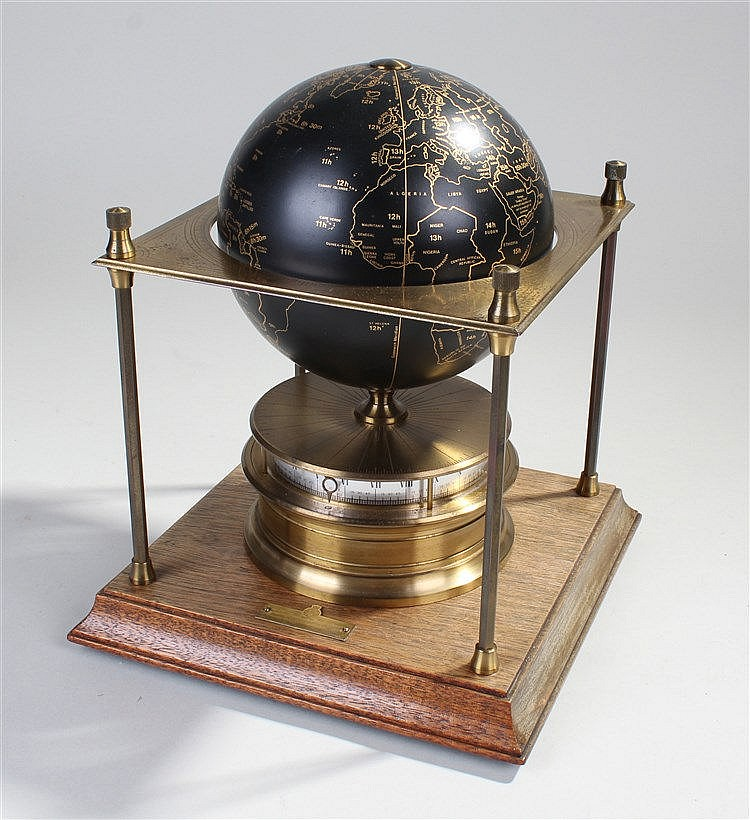The Royal Geographical Society World Clock, the black gilded globe within a