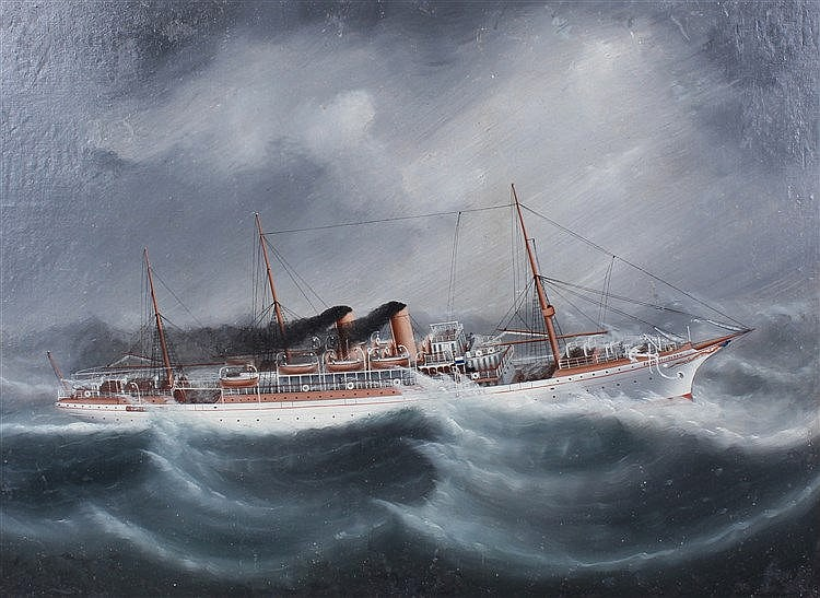 Empress of Japan, the steam ship at rough sea, oil on board, 57cm x 42cm
