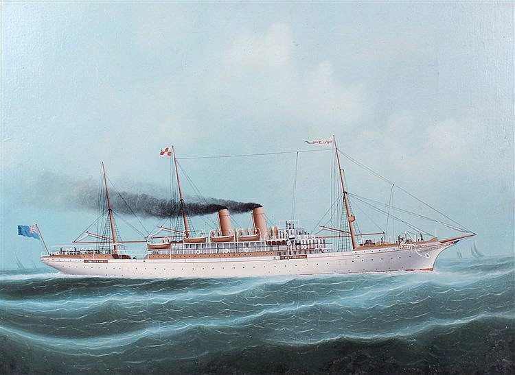 Empress of Japan, the steam ship in clam waters, oil on board, 57cm x 42cm