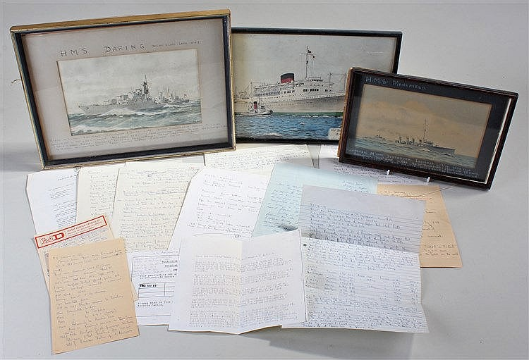 Three watercolours of ships, to include H.M.S Mansfield, H.M.S. Daring and