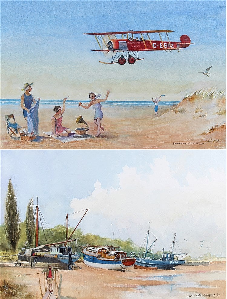 Kenneth Cooper, 20th Century, Bi-Plane flying over a beech, together with f