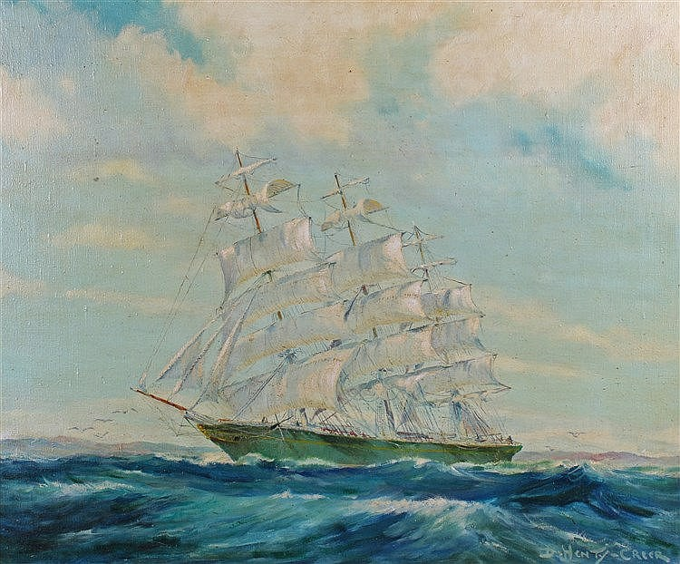 Deirdre Henty-Creer (1918-2012) three masted ship at sea with a rocky shore