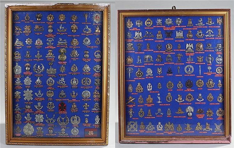 Collection of cap badges, two framed collections to include Irish, Scottish