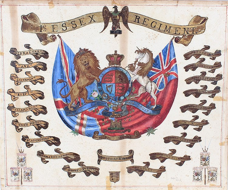 Victorian watercolour of the Essex Regiment crest, polychrome painted with