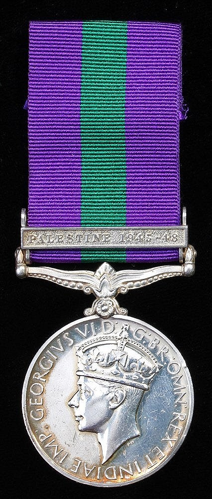 General Service medal 1918-1962, GVI, 1 clasp Palestine 1945-48, (AS. 18083