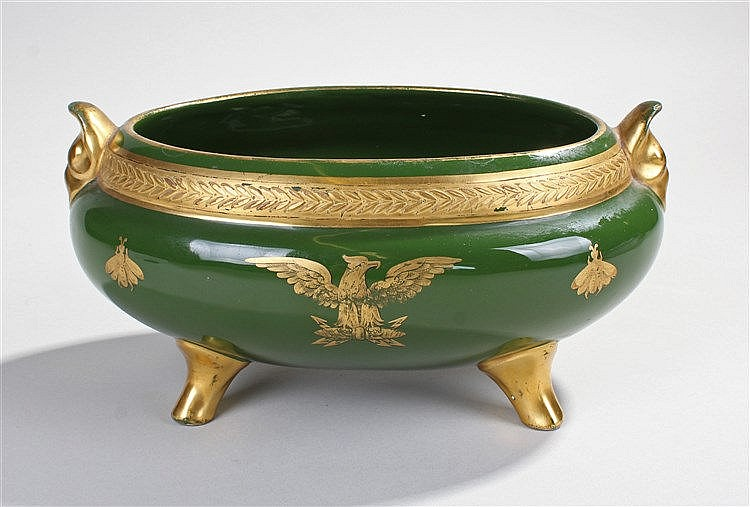 Napoleon Bonaparte interest, a green glazed tureen with the French eagle an