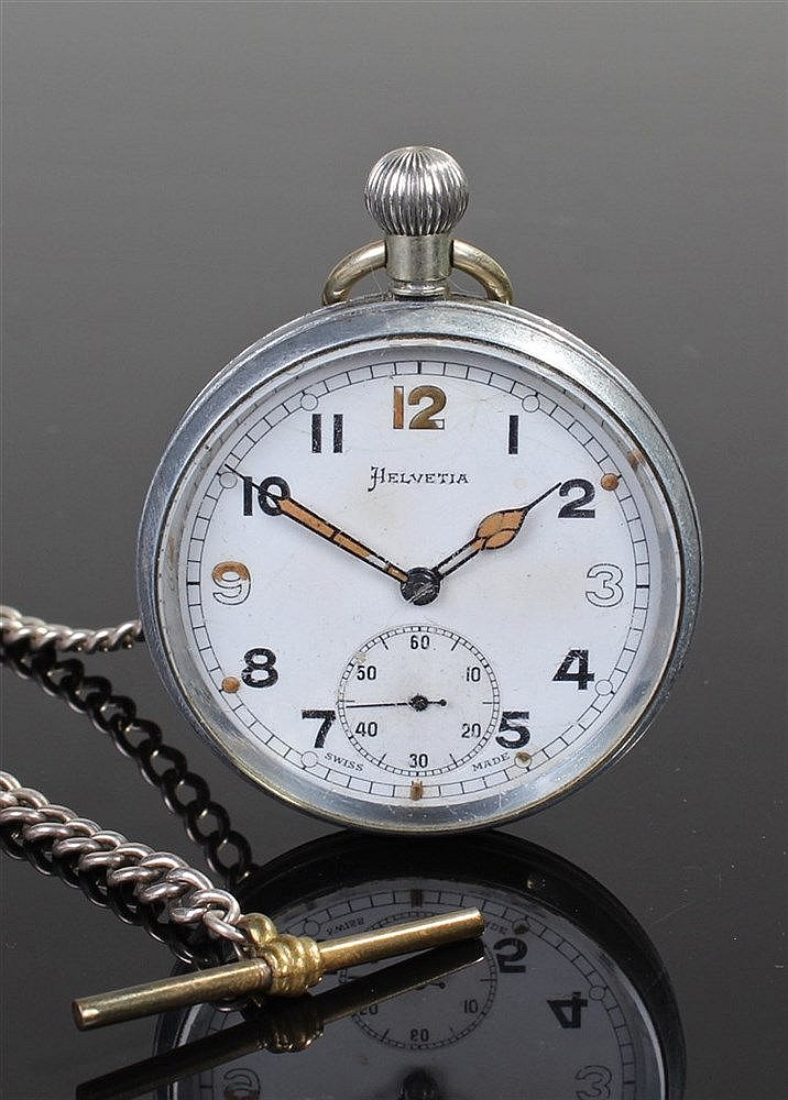 Helvetia military pocket watch, the signed white enamel dial with luminous