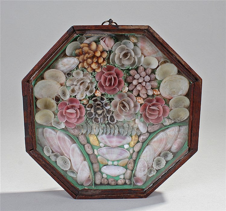 19th century sailors shell valentine, the shells laid out to form flowers,