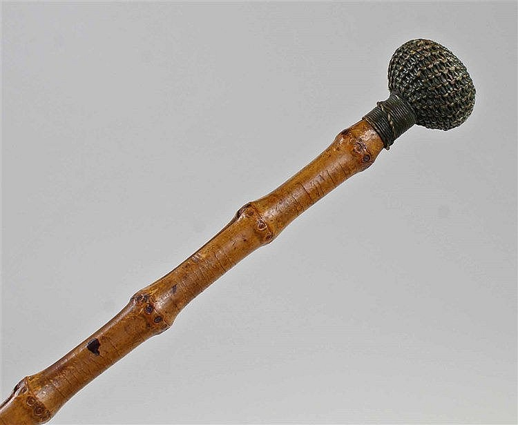 Victorian cane cosh, weighted at either end with wax sorting outer balls, 5
