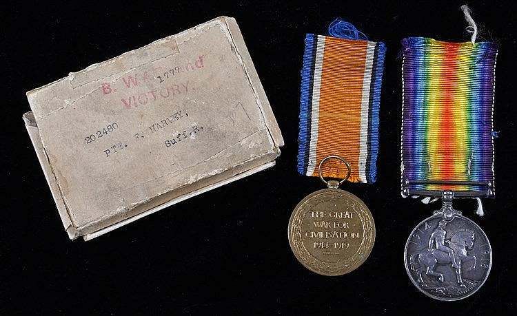 Suffolk Regiment, First World War pair of medals, Victory and War medal awa