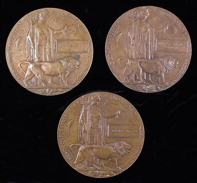 Emotive group of three First World War Death Plaques named to three brother