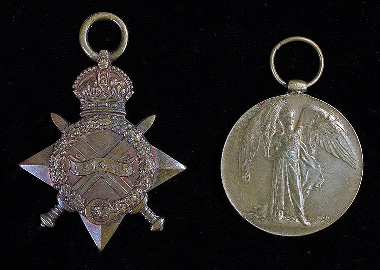 First World War pair, 1914-15 and Victory medal, (10815 PTE A. DAVIES. CHES