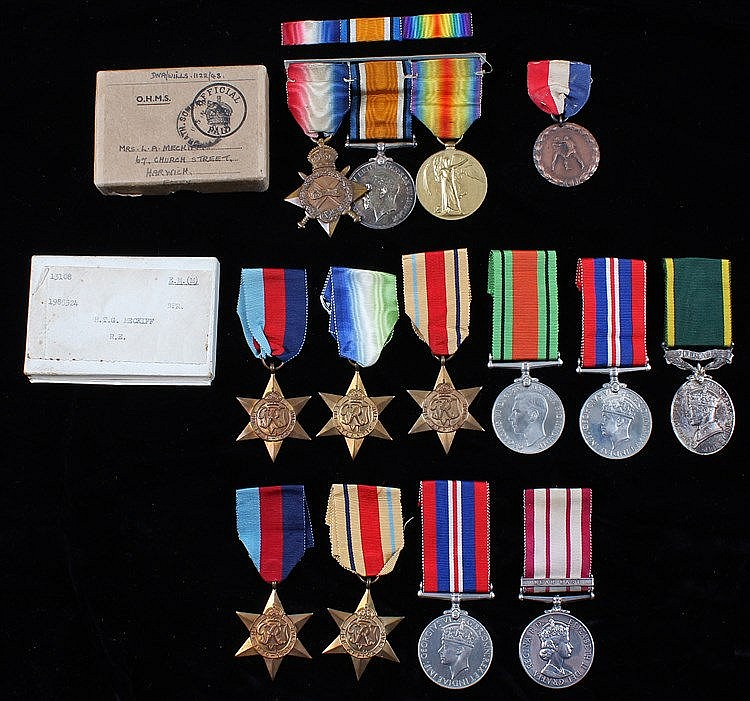 Family medals, to include a First World War trio (SS-2627 CPL T.W. MECKIFF