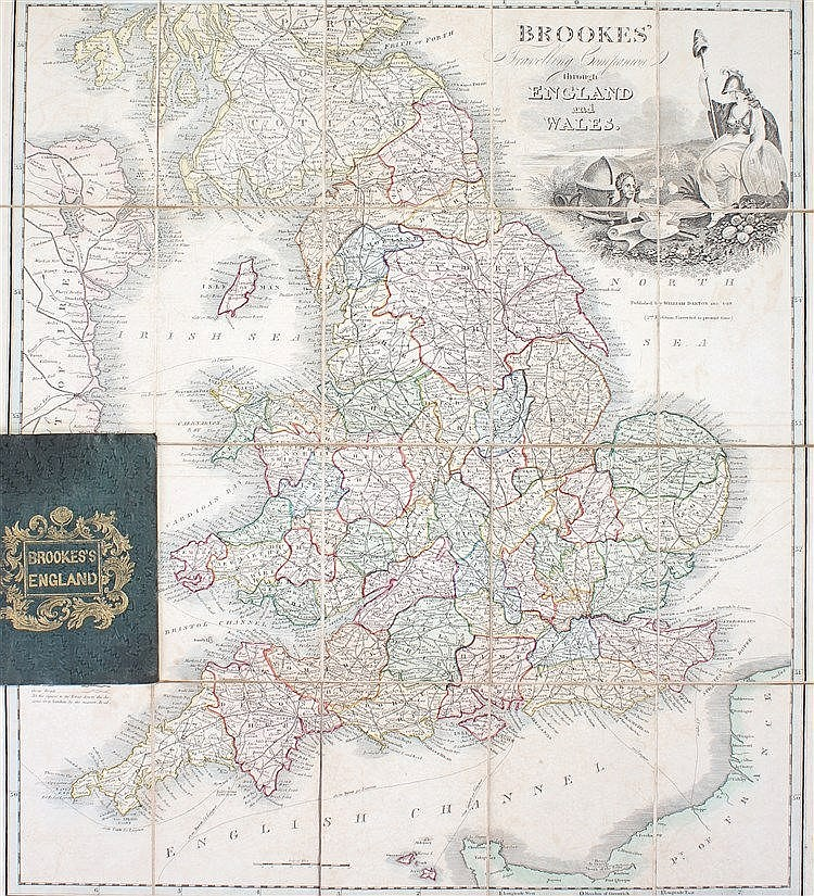 19th Century Brookes's England folding map, Brookes Travelling Companion th