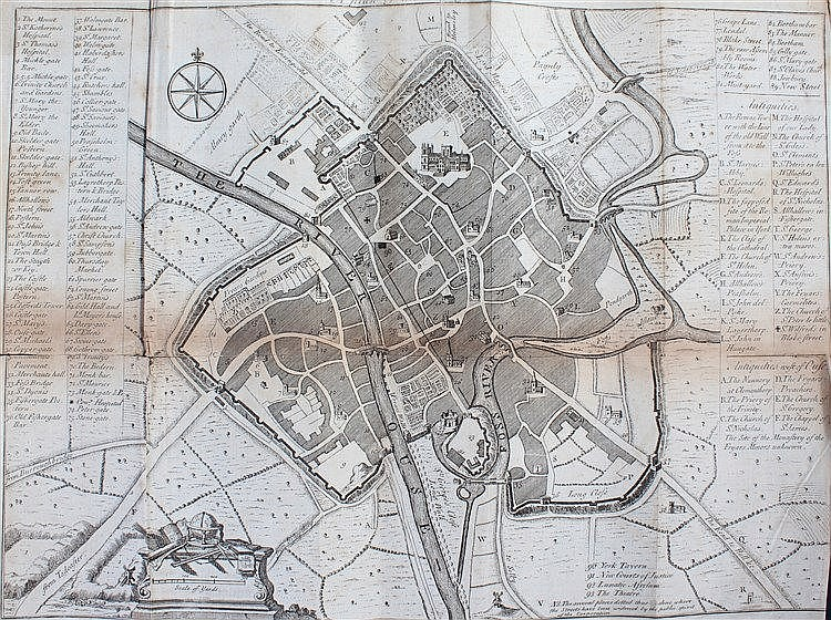18th Century Plan of the City of York, 38cm x 28cm