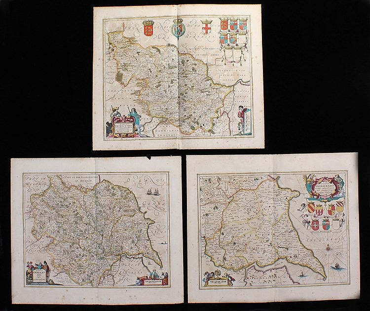 Johannes Janssonius, (1588-1664) three maps, to include Yorkshire, West Rid