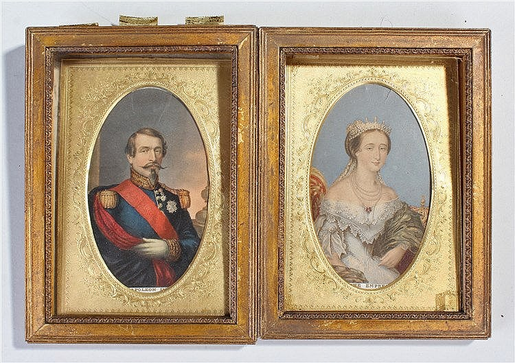 Napoleon III miniature print, together with the Empress, both housed within
